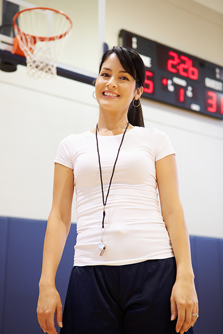 Female Coach Of High School Basketball Team